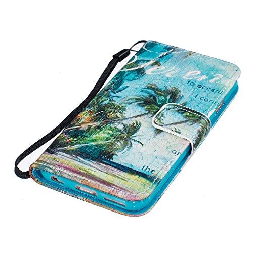Yidaxing Custodia iPhone 7 PLUS, Custodia a portafoglio in PU Pelle Bookstyle Flip Wallet Case Cover Liscio Leggero con Funzione di Supporto e Chiusura Magnetica e Fessura per Carta, Non toccare il mi Albero tropicale