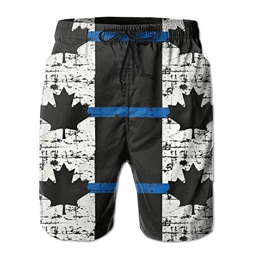 VLOOQ-HX Dünne Blaue Linie Kanada-Flagge Herren Sommer schnell trocknend Strand Shorts Board Badeshorts mit Tasche Gr. S 7-9, weiß