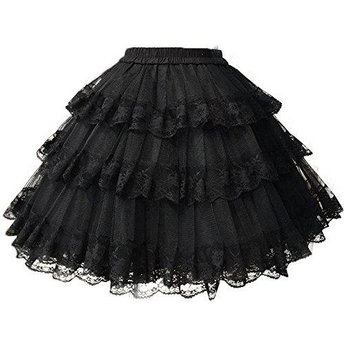 Rock Lolita (Sunzeus Unterröcke für Kostüm Spitze Midi Röcke Tutu Petticoats Lolita Cosplay Krinoline Tüll)