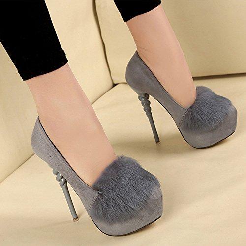 Oasap Damen Rund Plattform High Heels Ohne Verschluss Feder Pumps Black