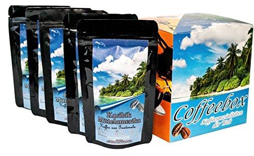 Länder Kaffee Geschenk Set ' Mittelamerika / Karibik ' , Kaffeebohnen frisch geröstet 5 x 65 g...