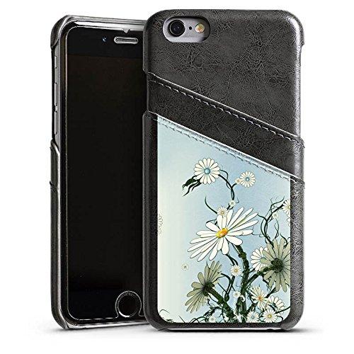 Apple iPhone 5s Housse Étui Protection Coque Fleurs Fleurs Vrilles Étui en cuir gris
