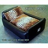 Zippy Pet Dog Bed - Faux Leather Divan - Large - Colour Black/Leopard