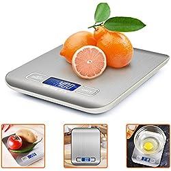 Bilancia da Cucina Digitale, ikalula Alta Precisione Misurazione 1g a 5kg Bilancia Digitale LCD Display Multifunzionale Bilancia da Cucina Elettrica - Acciaio Inossidabile (2 Batterie Incluse)