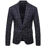 YFFUSHI Mens Plaids Suit Blazer Slim Fit One Button Notch Lapel Casual Daily Dress Suit Jacket Sport Coat