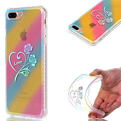 Apple iPhone 8 Plus 5.5 Hülle, Voguecase Schutzhülle / Case / Cover / Hülle / Plating TPU Gel Skin (Datura) + Gratis Universal Eingabestift Love Rose 01