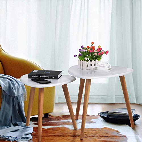 Yaheetech 2X Beistelltisch Couchtisch Kaffeetisch Sofatisch Satztisch Wohnzimmertisch aus Holz Retro-Design Runder Tisch weißer Tischplatte
