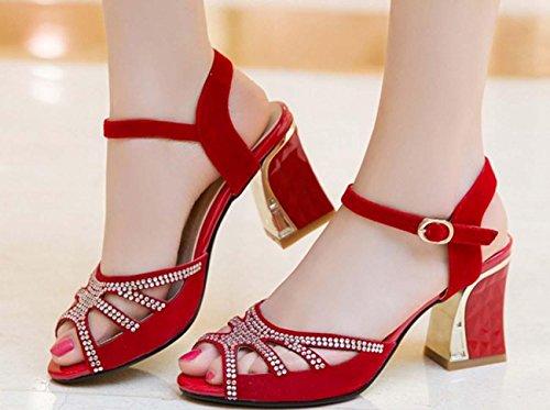 NobS Dimensioni diamante della pelle scamosciata sandali delle donne più le scarpe Red