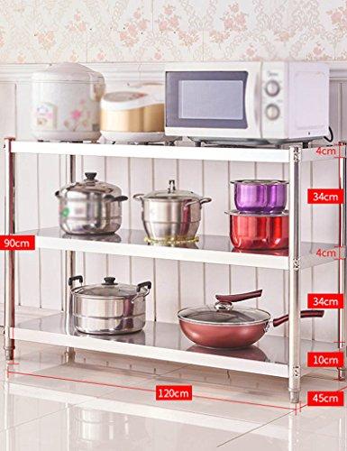 HWF Etagères de cuisine Acier inoxydable 3 couches Étagère de cuisine Étagères de rangement de plancher de four à micro-ondes (Couleur : 90 * 120 * 45cm)