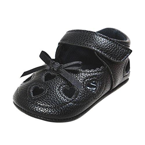 Enfants Chaussures Auxma Chaussures Printemps Eté Printemps Bébé Chaussures Printemps Bowknot Pour 3-18 mois (3-6 M, Noir) Noir