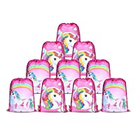 10pcs/Set Unicorn Bags for Unicorn Party Supplies Unicorn Drawstring Shoulder Backpack Bag Bulk for Girls Kids Children for Birthday Candy Baby Shower Unicorn Party Favors Gift-s