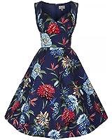 Lindy Bop 'Layla' Navy Floral Swing Dress