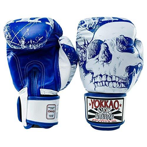 Yokkao Skullz Gants de Boxe Muay Thaï Bleu Blanc K1 Boxe Entraînement Entraînement - Bleu Blanc, 473 ML