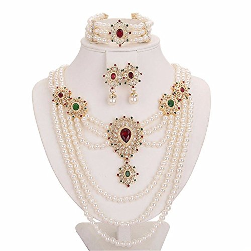 Moochi 18K Gold Plated Simulated Pearl Beads Red Oval Zircon Stone Necklace Earrings Bracelet Jewelry Set Wedding Party Costume