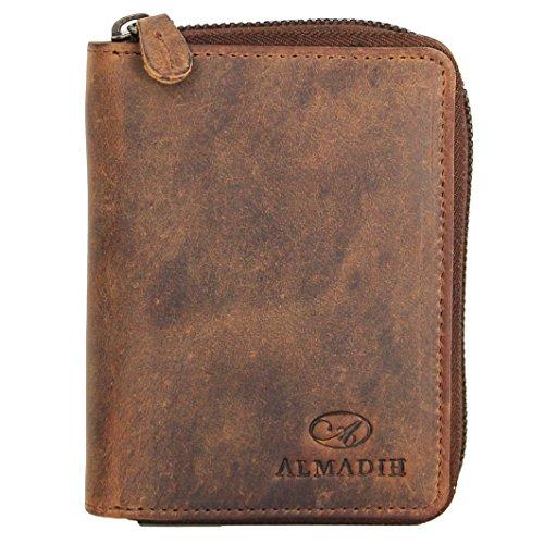ALMADIH Premium Leder Portemonnaie Hochformat mit Reißverschluss 17 Kartenfächer in Geschenkbox P2H-RV braun Dunkelbraun - Herren Börse Geldbörse Geldbeutel Portmonee Brieftasche (P2H-RV Vintage)