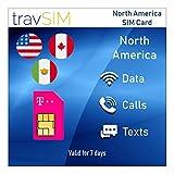 travSIM - T-Mobile Prepagata SIM Card USA, Canada E Messico - 50 GB US, 5 GB CA E MX Combinati 4G LTE Dati, Chiamate Vocali Nazionali Illimitate E Messaggi Di Testo - Valido Per 7 Giorni
