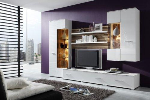 Wohnwand STOCKHOLM Anbauwand in Weiß, Fronten in Hochglanz Weiß, optional mit Beleuchtung, Beleuchtung:mit Beleuchtung