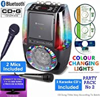 BLUETOOTH CD Player Karaoke, Classic 605 (2 M1CS + 3 CDs) Water Jet Disco Party Light �?? CDG + Format (Connect TV to display song lyrics) Link iPhone, iPad, Smart Phones, Tablets (Black, Party Pack 2)