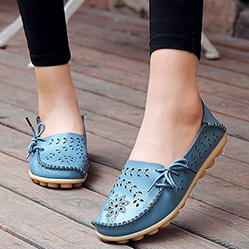 Eastlion Hohle Lederne Loch-Schuh-flache Untere Schuhe Beiläufige Krankenschwester-Schuhe Farbe 6