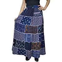 Women Patchwork Maxi Skirt Blue Rayon Vintage Style Flare Skirts S/M