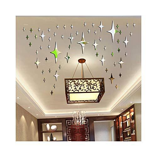 alrens DIY (TM) 50Bling-Bling Sterne DIY Acryl abnehmbarer Dekorative Spiegel Oberfläche Kristall Wand Aufkleber 3D Home Aufkleber Raum Wandmalereien Wand Papier Decor Geschenk 15cm silber Crystal Papier