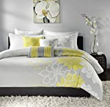 Madison Park Lola 6 Piece Quilted Coverlet Set, King, Yellow/Grey