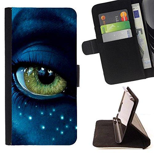 Pelle Portafoglio Custodia protettiva Cassa Leather Wallet Case for LG CLASS / LG H740 /LG ZERO H650 / CECELL Phone case / / Eye Alien Close Up Blue Green Stars Face /