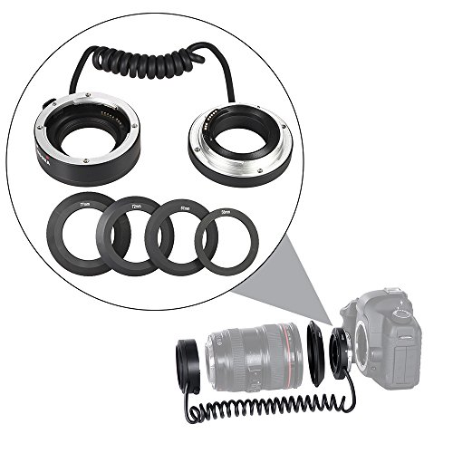 Andoer KOOKA KK-AT5A AF Auto Focus Makro Nahaufnahme Retroadapter Ring Rohr für Canon EF/EF-S-Bajonett-Objektiv mit 4 Adapterringe (58mm, 67mm, 72mm, 77mm) (Reverse Ring)