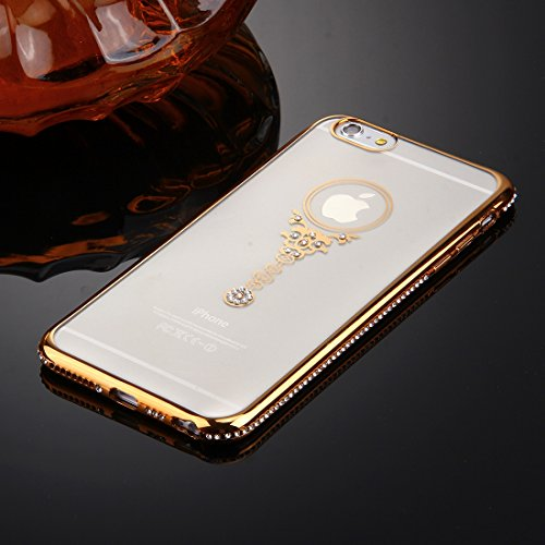 iPhone 6S-6 Hülle Glitzer-Strass Case Schutzhülle (4,7 Zoll) im stylishen Glamour glitzer Crystal Look mit Strassteinen und Aufdruck für das iPhone 6S-6 - Farbe: Gold - Nur original von THESMARTGUARD gold - Amulette