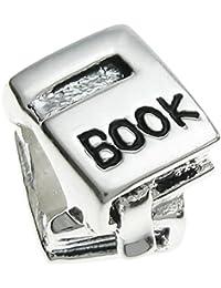 Queenberry Plata de Ley Libro lector European Style Bead Charm