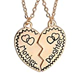 Mother Daughter Matching Puzzle Broken Heart Pendants Necklaces Set Mom Jewelry Gift from Daughter (Golden)