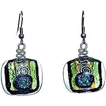 """Collezione CRISTALICA """"Fusing Gem"""", Orecchini in vero soffiato, 2 cm, multicolore, stile moderno - unico (Art Glass powered by CRISTALICA)"""