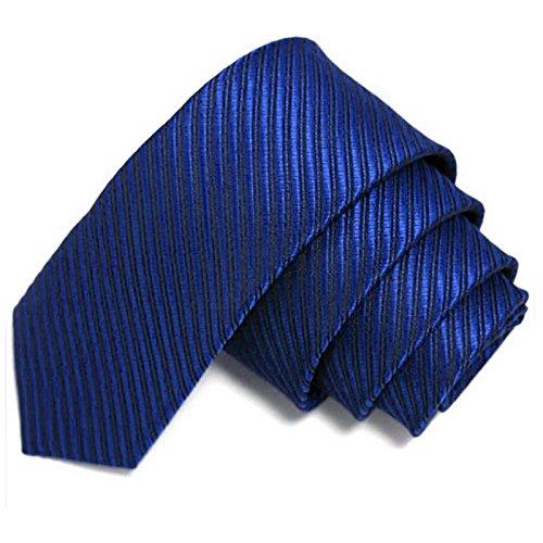 Schmale Krawatte 5cm gestreift - Blau Marineblau - Schlips mit Streifen - Herrenkrawatte Binder schmal dünn zum Anzug