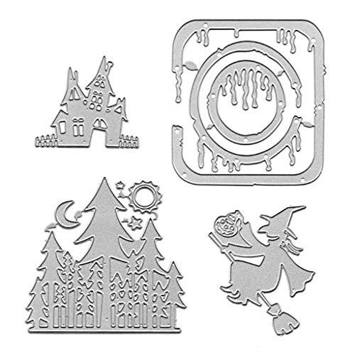 Kostüm Steel Mann Halloween Of - LuohuiFang DIY Halloween Stanzformen, Schablone für Scrapbooking Prägepapier Kartendekor 4tlg
