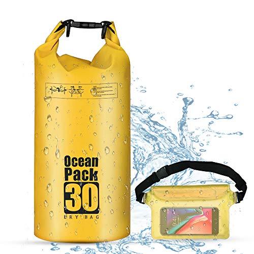 OBES Dry Bag 10L, Packsack wasserdicht Tasche Seesack + gepolsterte Schulter-Gurte + justierbarem Bügel + Handyhülle für Höhlenforschung/Fischen/Rafting/Schwimmen/Snowboarding Gelb -