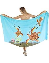La Leela douce rayonne douce des tortues de respiration bikini sarong couvrir 78x43 pouces