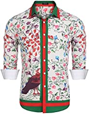 COOFANDY Men's Floral Dress Shirt Long Sleeve Slim Fit Casual Fashion Luxury Printed Button Down S