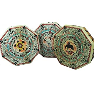 Terrpain Trading Fair Trade 10 Sided Handmade Native American Style Hand Tambourine Drum & stick
