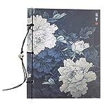 Cuddty vintage style chinois fabriqué à la main Fleur bloc-notes papeterie ordinateur portable Journal Journal Sketchbook avec pompon pour cadeaux Prix taille unique pivoine