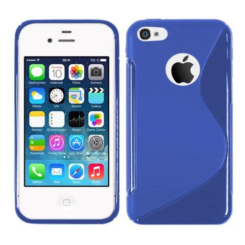 Apple iPhone 4S - TPU Schutzhülle S-Style S Design Case Schutz Cover Etui Hülle in Pink Blau