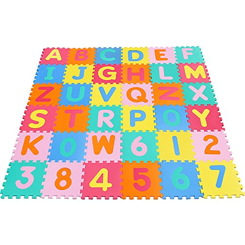 Yorbay Alfombra puzle para Niños bebe infantil, esteras de 32x32 cm, 36 piezas Numeros 0 al 9 y 26 Letras en Espuma EVA