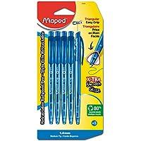 Maped Helix Estados Unidos Triangular retráctil bolígrafo Azul, acrílico,, Juego de 6