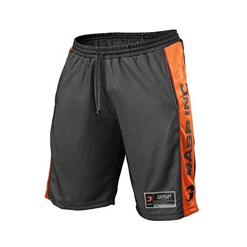 GASP NO1 Mesh Short - Kurze Herren-Hose - Fitness Hose - Sport- & Freizeit-Hose, Größe:XXL, Farbe:schwarz/orange