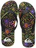 Quiksilver Molokai Art-Flip-Flops for Men, Scarpe da Spiaggia e Piscina Uomo, Multicolore (Black/Black/Yellow Xkky), 41 EU
