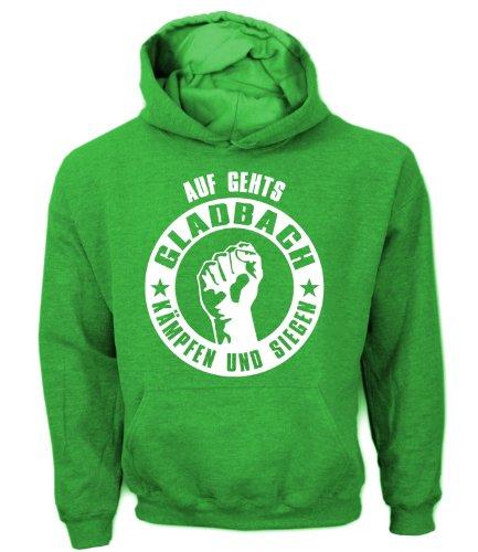 Artdiktat Herren Hoodie Auf geht´s Gladbach kämpfen und siegen, Größe XL, grün