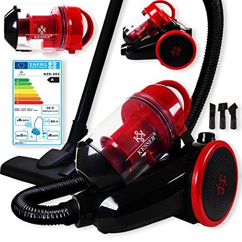 Kesser® 700 Watt Staubsauger Bodenstaubsauger Beutellos Hepa Filter Zyklon Zyklonstaubsauger EE A, Farbe :Schwarz / Rot