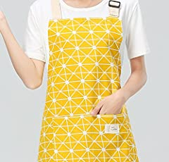 GETKO WITH DEVICE Women's Cotton Canvas Cooking Apron with Convenient Pocket (Multicolour)