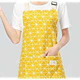 Getko With Device Cotton Canvas Women's Cooking Apron With Convenient Pocket Durable Stripe Kitchen And Cooking Apron For Women/Men Professional Stripe Chef Apron For Cooking