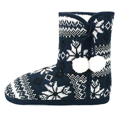 Sibba Hausschuhe Schneestiefel Hausstiefel gefüttert Schwarzblau