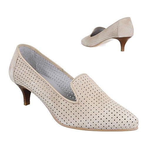 Damen Schuhe, 4341, PUMPS BEQUEME KOMFORT LEDER Beige